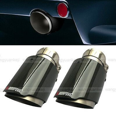 """2pcs IN: 3"""" 76MM OUT: 4"""" 101MM Akrapovic Glossy Carbon Fiber pipe Exhaust Tip"""