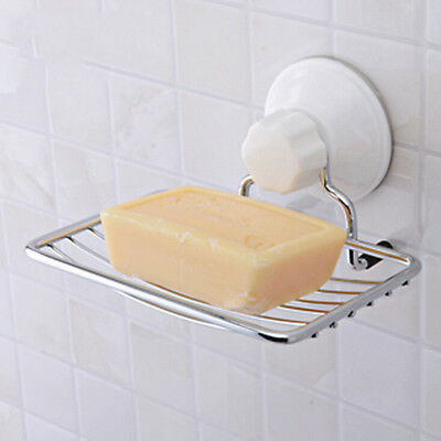 1PC Stainless Steel Soap Holder Strong Vacuum Suction Cup Soap Storage Dish Box-
