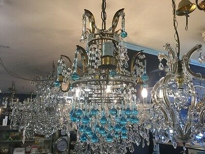 VINTAGE CRYSTAL CHANDELIER LIGHT TOILE RARE BLUE MURANO GILT 3x FRENCH No.84