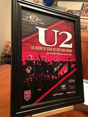 "3 BIG 10x13 FRAMED U2 ""THE JOSHUA TREE TOUR 2017"" LP ALBUM CD CONCERTS PROMO ADS"