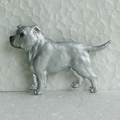 English Staffordshire Bull Terrier White Brooch Dog Breed Jewellery Handpainted
