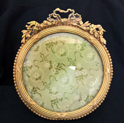 French Antique Ornate Brass Bronze Picture Portrait Frame France Bow Ribbon