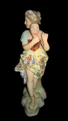 Antique Volkstedt German Porcelain Figurine Figure Meissen Masquerade Lady Mask