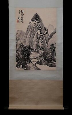 Wonderful Large Rare Old Chinese Scroll Hand Painting Landscape Marked PP929