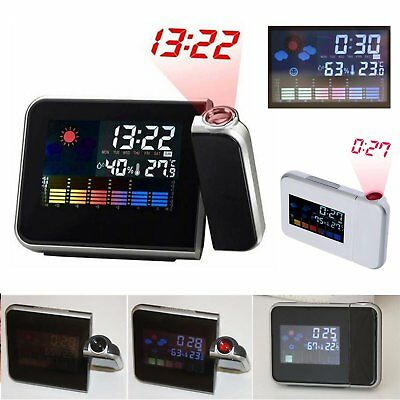 LCD Digital LED Projector/Projection Alarm Clock Weather Station Calendar Snooze