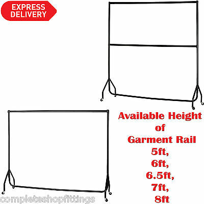 6 FT WIDE LONG HEIGHT 6ft, 7Ft, 8ft, HEAVY DUTY BLACK CLOTHES,GARMENT RAILS