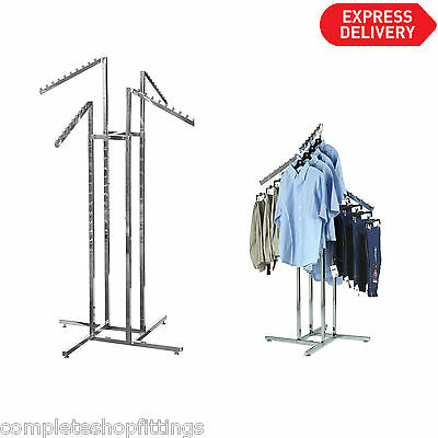 Heavy Duty 4 Way Slope Clothes Rail Shop Display Garment Rack Floor Stand