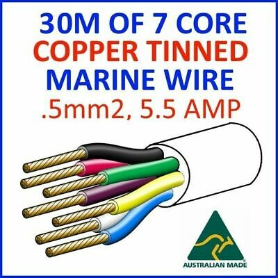 30M OF 7 CORE .5mm2 16/0.2 WIRE MARINE TINNED COPPER TRAILER CABLE BOAT 12V TWIN