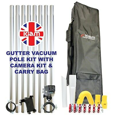 32ft 9.6m Gutter Vacuum Pole Kit Drain Cleaning & 4K Inspection Camera & Holdall