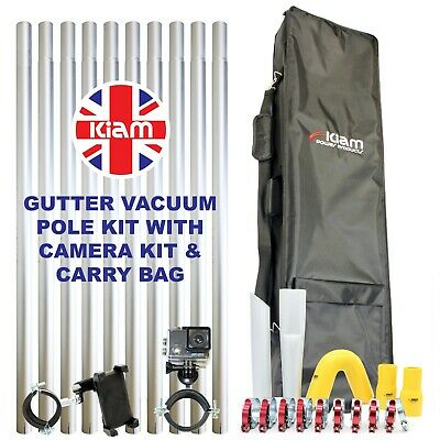 40ft 12m Gutter Vacuum Pole Kit Drain Cleaning & 4K Inspection Camera & Holdall