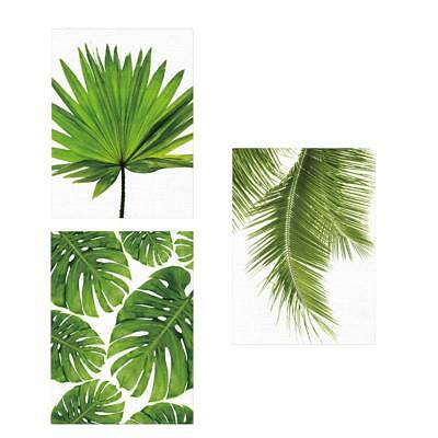 3Pcs Green Leaf Art Oil Painting Print Canvas Picture Home Wall Room Decor S