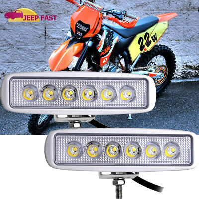 Pair 7inch 18W CREE Spot LED Work Light Bar Offroad 4WD ATV SUV Fog Driving Lamp