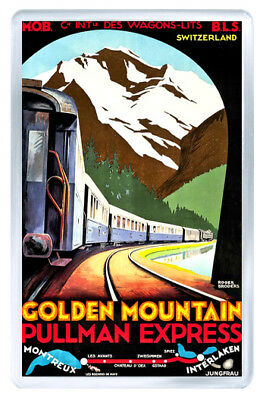 Golden Mountain Switzerland Vintage Repro Fridge Magnet Souvenir Iman Nevera