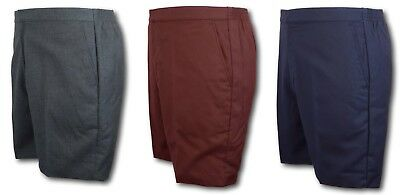 School Uniform Flat Front Short Trousers - David Luke - Grey Navy Brown Shorts