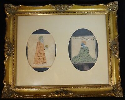 "2 Antique India Paintings of Krishna & Robed Man, 18th /19th c., approx. 4""x4"""