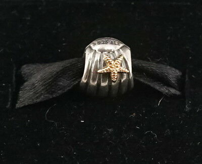 Authentic Pandora Two Tone Silver & 14k Gold Seashell w/ Starfish Charm 790249
