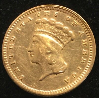 $1 Type 3 U.S. Gold Indian Princess Dollar (Date Not Clear)- AU