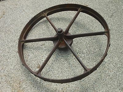 "Antique 32"" Steel 6-Spoke Wagon Wheel Cast Iron Rustic Tractor"