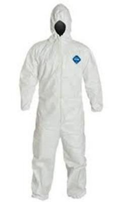 Dupont TY127S Size 4X Full case Tyvek Coverall With Elastic wrists,ankles & Hood