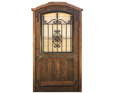 Antique Arched Single Door With Iron Insert #X1251
