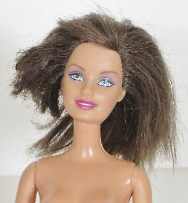 NUDE BARBIE 1998 12 Inches Brunette Hair Blue Eyes Straight Leg and Arm Doll
