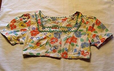 VINTAGE 1930's ART DECO ERA CHILD'S BOLERO BLOUSE FLOUR SACK FLORAL ROCKABILLY