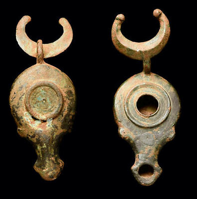 Ancient Roman Bronze Oil Lamp Ca. 1st-3rd century A.D.
