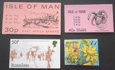 GB Isle of Man 4 booklets - Flowers, Victorian Scenes - MNH