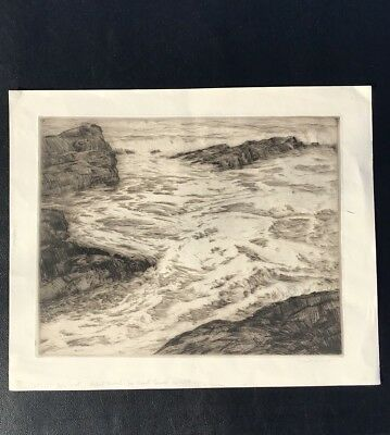 Old Lyme Art Colony Drypoint Etching By Robert Hogg Nisbet. Seascape. Signed