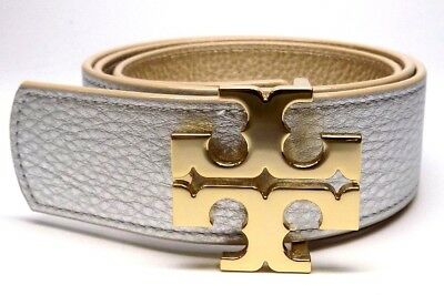 "New Tory Burch 1.5"" Gold Silver Leather Reversible Logo Belt"