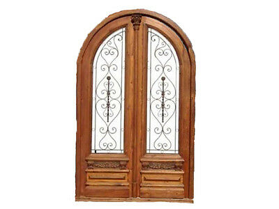 Arch Double Front Door With Amazing Wrought Iron Insert #B1437