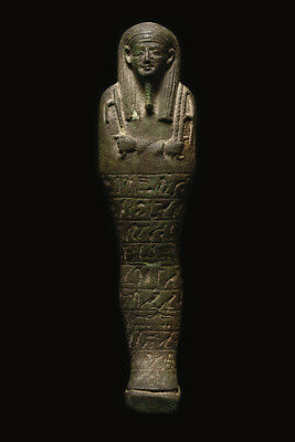 Large Ancient Egyptian Faience Ushabti Figure Late period, ca. 700-30 B.C.