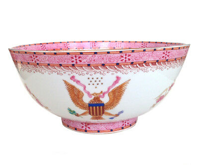 CHINESE PUNCH BOWL Large Pink American Eagle Stars Roses Floral Waves 1of2