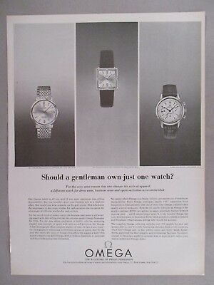 Omega Watch PRINT AD - 1964 ~~ Seamaster, Chronograph, gold wristwatch