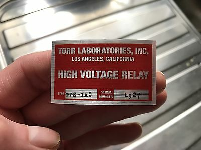 4 x Back to the Future Torr Laboratories Flux Capacitor Solenoid Sticker Prop