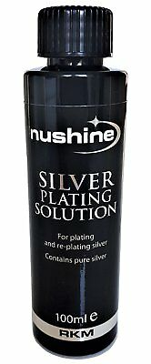 Nushine Silver Plating Solution 100ml - permanently plate PURE SILVER onto worn