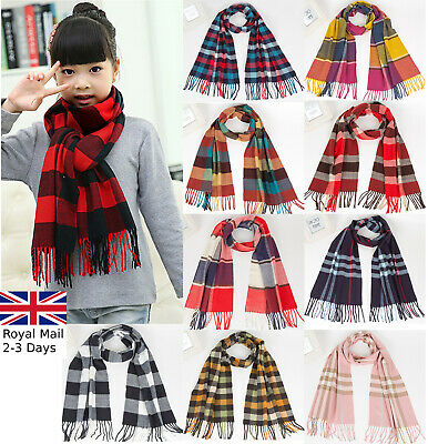 Children Kids Quality Winter Warm Tartan Check Neck Shawl Scarf Wrap Stole Plaid