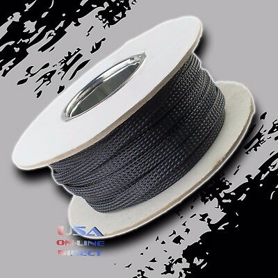 "3/8"" 50ft Expandable Braided conduit Wire Cable Weave Sleeve hose cover tube US"