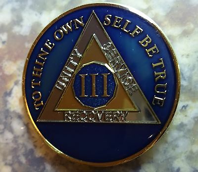 AA Blue Gold 3 Year Coin Tri-Plate Alcoholics Anonymous Medallion Sobriety Chip