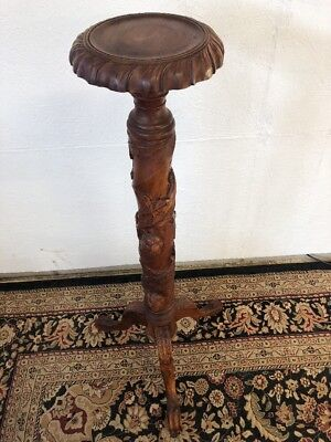 "44"" Antique Carved Wood Grape Leaf Pedestal Display Table Plant Stand Claw Feet"