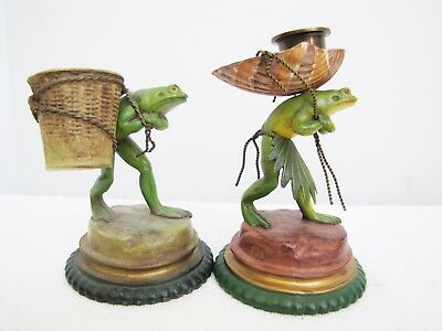 Vintage Pair of Austrian Polychrome Cold Painting on Metal Frog Statues
