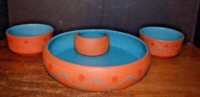 Terra Cotta Pottery Serving Tray Bowls HIMARK Southwestern NM Portugal Tribal