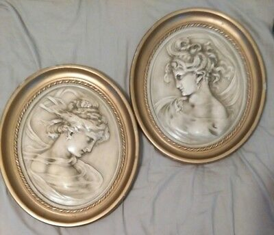 Vintage Victorian Oval Wall Plaques Beautiful Women's Bust Ivory Plaster, Heavy