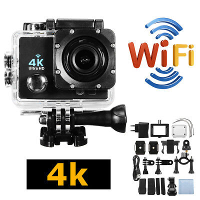 Impermeable 4K Ultra HD DV 12MP 1080P 30fps WiFi Acción cámara Kit accesorio BS