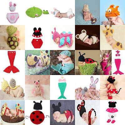 Cute Crochet Knitted Outfit Photo Costume Set For Newborn Baby