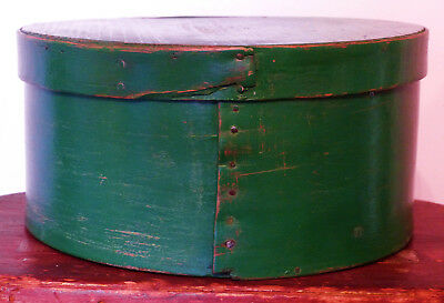 Antique Wooden New England PA GREEN PAINTED Old PANTRY SHAKER Box  #3