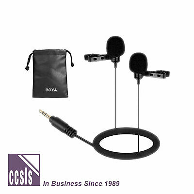 Boya Dual Lavalier microphone for DSLR Camera, Camcorders and Wireless Systems