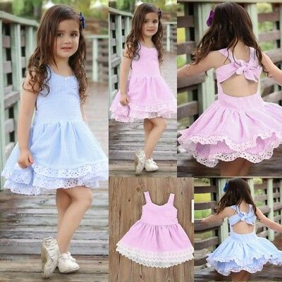 Toddler Kids Baby Girl Summer Clothes Stripe Lace Party Pageant Princess Dresses