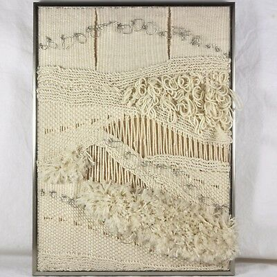 Vintage Original Hand Made Abstract Woven Weaving Art Framed Tapestry Brutalist