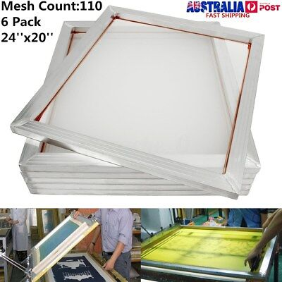 6pcs 60x50cm Screen Frame With 110t Mesh Silk Screen Printing Aluminum Alloy AU